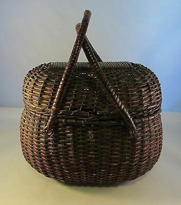 Vintage Handled Creel or Bait Covered Basket