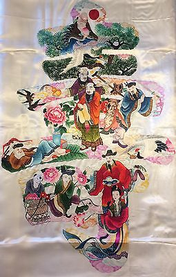 Chinese Silk  Embroidery 9 Immortals Gods Semi-Antique Asian Art Very Nice Old