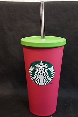 Starbucks Pink Stainless Tumbler Travel Matte 16 oz 2014