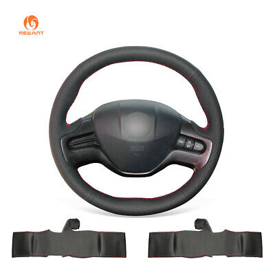 Black PU Leather steering Wheel Wrap for Honda Civic Civic 8 2006-2008 (2-Spoke)