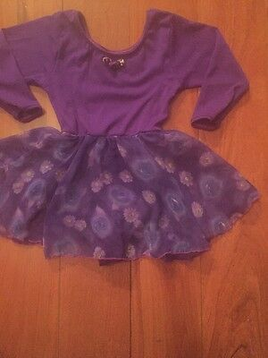 Jacques Moret Girls Small 6/7 Purple Dance Leotard W Skirt Floral Print