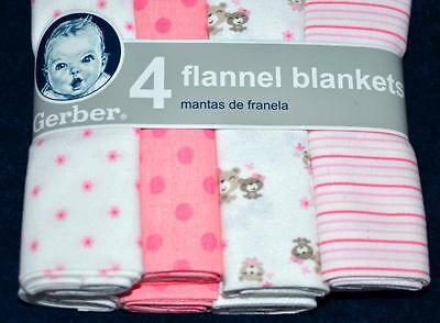 Gerber Baby Girl Receiving Blankets Pack of 4 100% Cotton Flannel Pinks 30X30