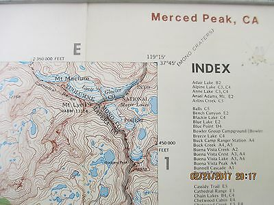 "Merced Peak (Yosemite) Quadrangle Topographic Map 18"" x 21"" - 1986"
