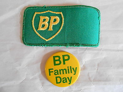 Vintage British Petroleum BP Patch and Family Day Pinback Button