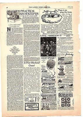 1891 Selchow & Righter New York City Ad: Parcheesi  also pearline soap ad
