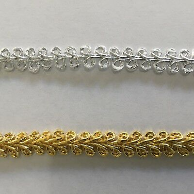 1m 9mm silver or gold gimp cord braid trim costume dance sewing craft doll