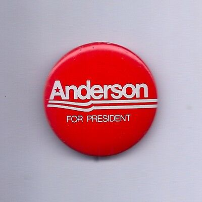 1980 John Anderson Independent for President Third Party Red Campaign BUTTON PIN