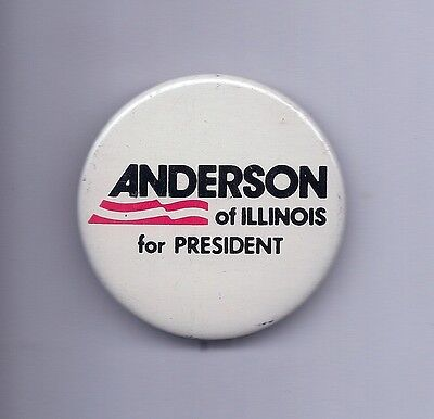 """Anderson of Illinois for President"" Pinback    1980  John Anderson"