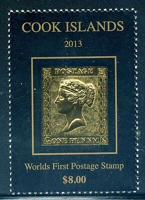 Cook Islands (2013) Britain #1 PENNY BLACK GOLD STAMP - Mint **NH**