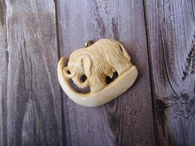 Pendant Necklace Elephant Mammoth from Buffalo Bone with Silver 925_x292