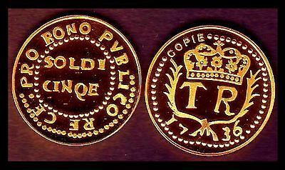 ★★ Corse : Rare Copie Plaque Or De La 5 Soldi 1736 Th. Neuhof ★ Leg:pvblico Re