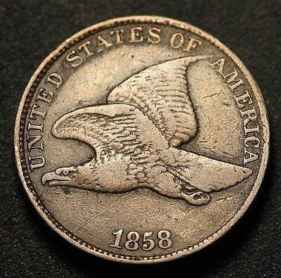 1858 FLYING EAGLE CENT - Near VF VERY FINE - Large Letters LL