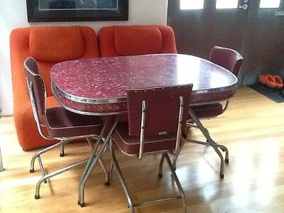 1950s Formica Table and 4 Chairs - burgundy/red Retro Vintage