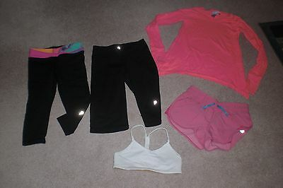 Lot of 2 Girls Ivivva by Lululemon Crops, Shorts, Top and Work Out Bra sz 6