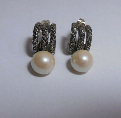 Vintage Judith Jack Sterling Silver, Marcasite and Faux Pearl Earrings