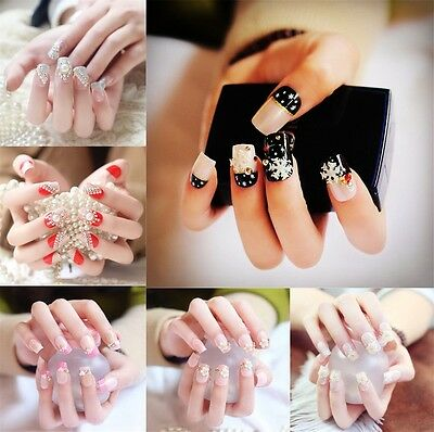 Bling Art False Nails French Manicure Pink Tips Crystal Full Cover Medium 24 PCS