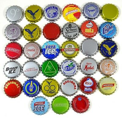 33 Crown Caps Collection from Venezuela, new, beer, soda and ron