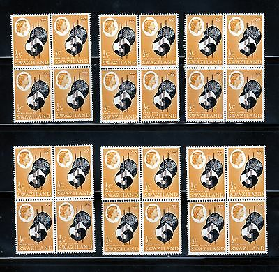 1962 MNH Sc 92 Swaziland Queen Independance, 6 x Blocks of 4, Wholesale yy