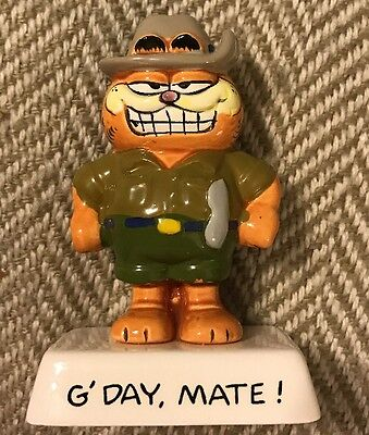 "Rare Vintage Garfield Cat ""G'Day, Mate!"" Quote Figurine Ceramic Figure - Enesco"