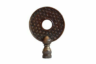 Beautiful Vintage Style Hand Carved Brown Coin Lamp Finial 3""