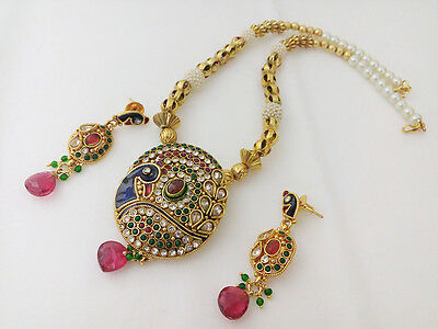 Indian traditional Jewelry pendant set bollywood ethnic gold plated peacock set