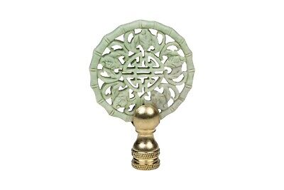 Beautiful Vintage Style Hand Carved Green Jade Double Happiness Lamp Finial 3""