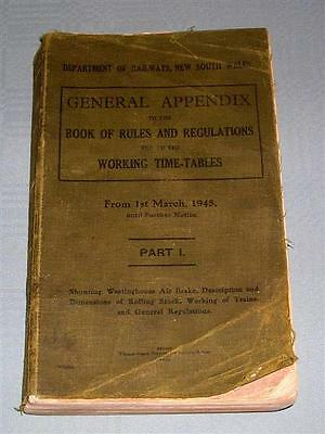 NSWGR, Appendix to the Rule Book & Working Time Tables, 1945, SC book