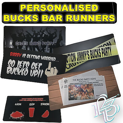 PERSONALISED BUCKS STAG BAR RUNNERS BEER MATS - wedding night funny gift present