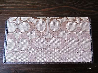 AUTH NEW COACH brown signature leather Checkbook Cover Holder case safficano in