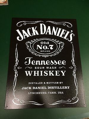 Jack Daniels Black & White Old No 7 Tennessee Whiskey Tin Sign -No Green Belle