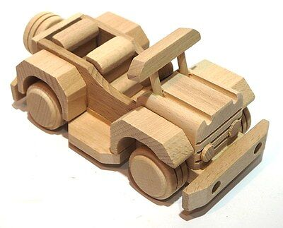 Handmade Wooden toy car old clasic antiquary natural wood decoupage ecological