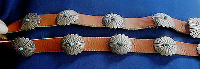 NAVAJO FRED GUERRO STERLING Stamped Domed TURQUOISE 11 Pcs Vintage CONCHO BELT