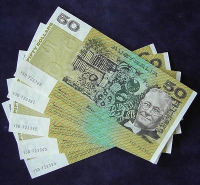 1985 Australia Fifty Dollars Banknotes x 5 Uncirculated - YSD - Rare Offer