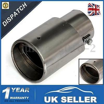 Universal Stainless Steel Chrome Car Rear Exhaust Muffler Pipe Tail Tip -UK
