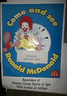 1997 Ronald McDonald Promotional Appearance A3 ThinCard Poster (Approx Size)Used