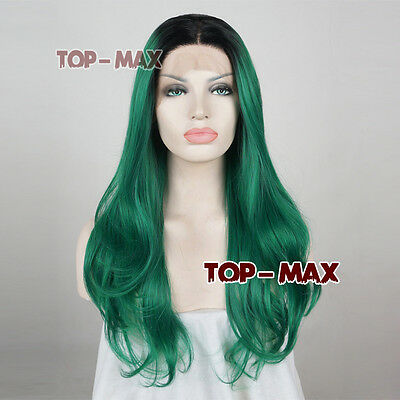 """22"""" Green Mixed Black Long Wavy Lace Front Wig Heat Resistant + Wig Cap"""