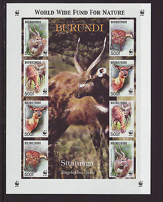 Burundi 2004 MNH - Animals - sheetlet with two sets of 4 imperforeted stamps
