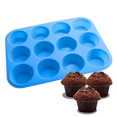 12 Cup Silicone Cupcake Mold Muffin Cake Mould Baking Tray Cake Pan DIY Tool