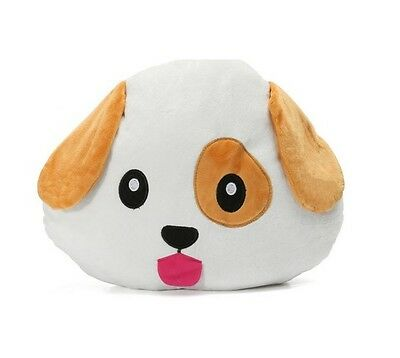 "Dog Puppy Emoji Pillow Emoticon Cushion Soft Smiley 32cm/13"" NEW"