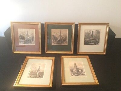 Five Original And Re-Framed Antique Prints Of London Churches