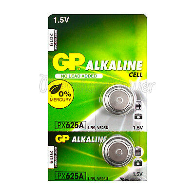 2 x GP Alkaline PX625A batteries 1.5V LR9 V625U 625G EPX625 PX13 E625G EXP:2019