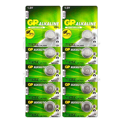10 x GP Alkaline PX625A batteries 1.5V LR9 V625U 625G EPX625 PX13 E625G EXP:2019