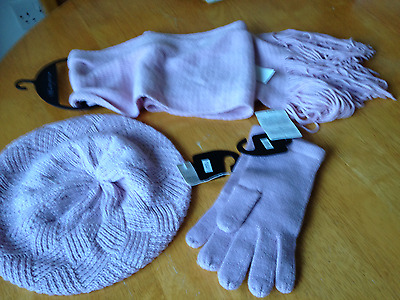 Bnwt Marks & Spencer Collection Pale Pink Hat Scarf & Gloves Set Pale Pink