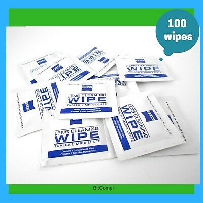 Zeiss Pre-Moistened Lens Cloths Wipes 100 Ct  Glasses Camera Phone Cleaning