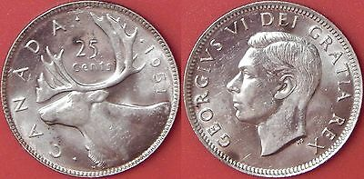 Brilliant Uncirculated 1951 Canada High Relief Silver 25 Cents