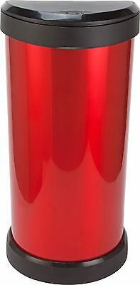 Curver 40 Litre Deco Touch Top Kitchen Bin - Red and Black.