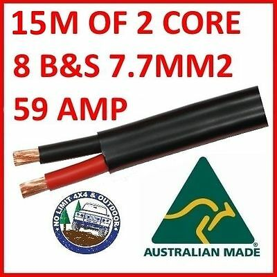 15m METER 8mm 8 B&S TWIN CORE DOUBLE INSULATED CABLE COPPER 12V WIRE DC-DC