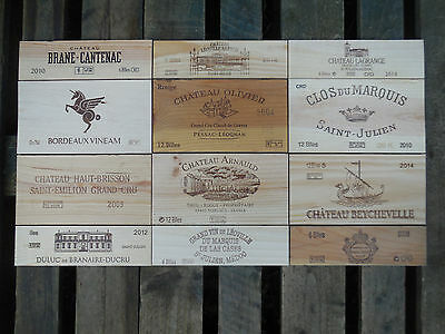 12 estampes façades caisse vin Bordeaux dimensions 93cm X 52cm wine box panels