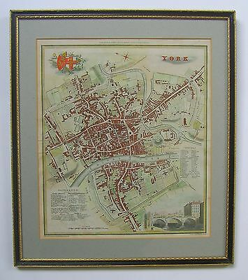 York: antique town plan by Edward Baines, 1822