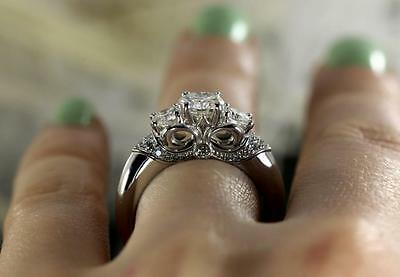 Three Stone Round Brilliant Cut Diamond Engagement Ring in 10k White Gold Plated